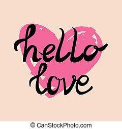 bonjour, coeur, amour, vecteur, carte
