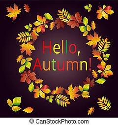 bonjour, fait, chêne, texte, cadre, autumn., multicolore, automne, arrière-plan., feuilles, etc., châtaigne, érable, carte postale