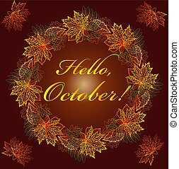 bonjour, fait, chêne, texte, october., multicolore, automne, arrière-plan., cadre, feuilles, etc., châtaigne, érable, carte postale