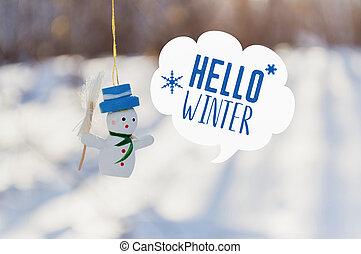bonjour, hiver, bonhomme de neige