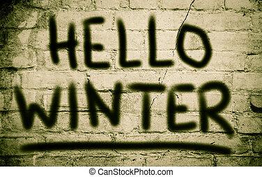 bonjour, hiver, concept