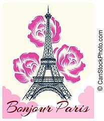Bonjour or hello Paris retro poster