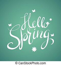 bonjour, printemps, texte