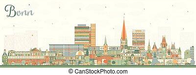 bonn, alemania, color de la ciudad, edificios., contorno