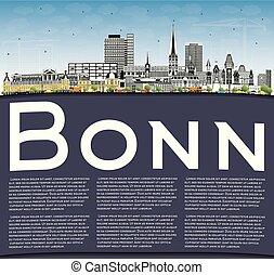 bonn, cielo azul, copia, edificios, alemania, color de la ...