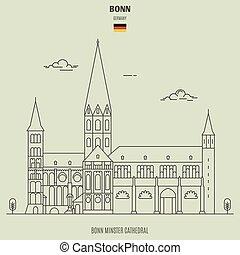 bonn, minster, cathédrale, germany., repère, bonn, icône