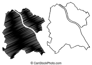 bonn, vector, rhine-westphalia), ciudad, bosquejo, (federal...