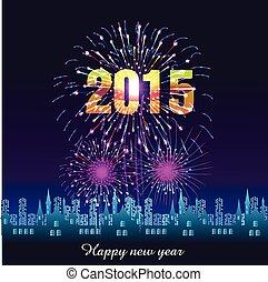 bonne année, 2015, à, feux artifice