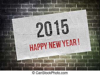 bonne année, 2015, !, -, affiche, concept