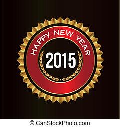 bonne année, bonne chance, cachet, dans, doré, et, rouges, colors., à, espace, pour, ton, propre, texte