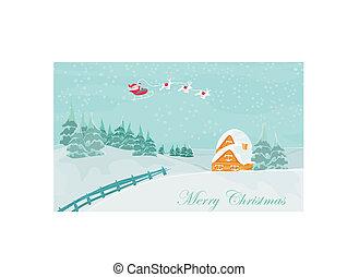 bonne année, carte, à, santa