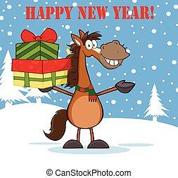 bonne année, cheval