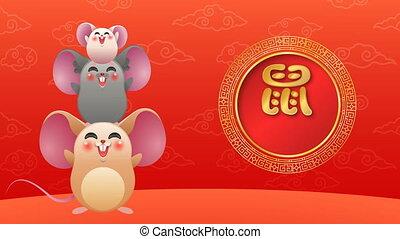 bonne année, chinois, animation, rat, ami, carte
