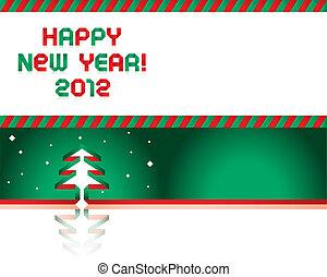 bonne année, -, papier, bande, police