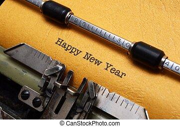 bonne année, texte, sur, machine écrire