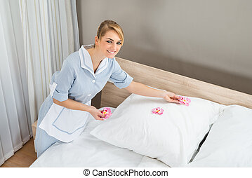 bonne, décorer, chambre à coucher, à, pétales