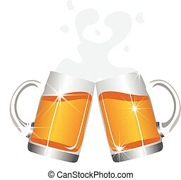 bonne disposition, bière, grandes tasses