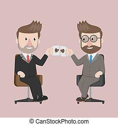 bonne disposition, café, homme affaires