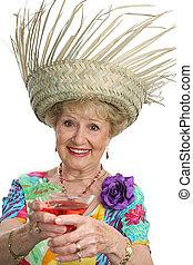 bonne disposition, dame, personne agee, -