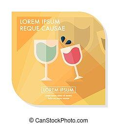 bonne disposition, martini, ombre, icône, eps10, plat, long...