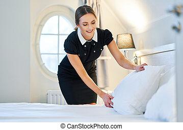 bonne, hôtel, fabrication lit, salle
