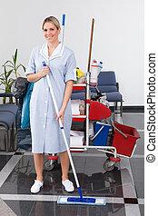 bonne, nettoyage, jeune, plancher