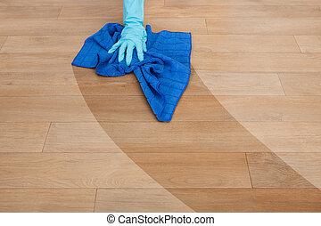 bonne, nettoyage, plancher
