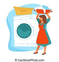bonne, nettoyage, vêtements, compagnie, lavage, service, vecteur, femme foyer