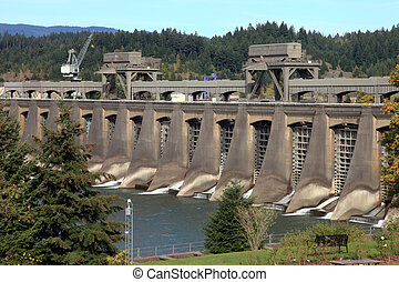 The Bonneville dam locks when the water is low and closed.