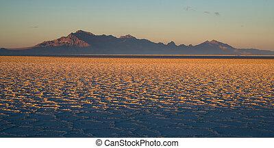 bonneville, tooele, pleistocene, utah, jezioro, hrabstwo, zachód słońca, mieszkania, sól