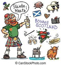 bonnie, escocia, caricatura, clipart, colección