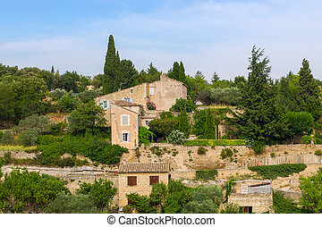 Bonnieux charming old small village and church the Provence region