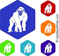 Bonobo icons set hexagon