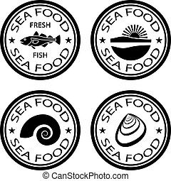 bons alimentation, vecteur, mer