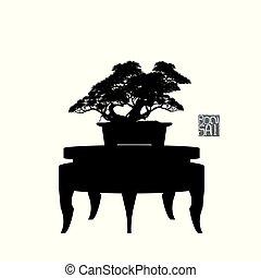 bonsai, détaillé, silhouette, illustration, image, arbre, vecteur, bonsai