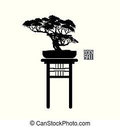 bonsai, detalhado, silueta, ilustração, imagem, árvore, vetorial, bonsai