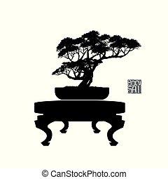 bonsai, detaljeret, silhuet, illustration, image, træ, vektor, bonsai