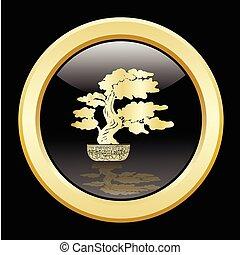 bonsai, dorato, silhouette, sopra, sfondo nero