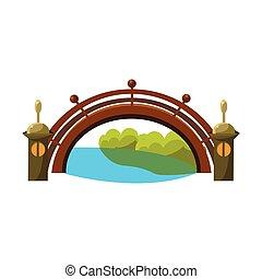 bonsai, encima, tradicional, ilustración, de madera, río, miniatura, paisaje, vector, puente, jardín japonés, elemento