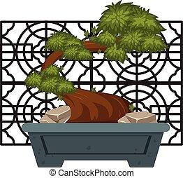 Bonsai in clay pot illustration