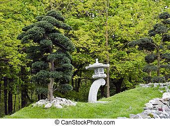 bonsai, jardín, árboles, japonés