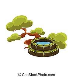 bonsai, jardin, miniature, arbre, japonaise, illustration, élément, traditionnel, puits, vecteur, paysage vert