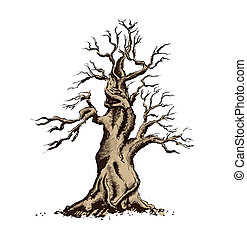 bonsai, kunst, illustration., træ, vektor, silhuet