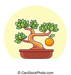 Bonsai orange tree - Stylized cartoon Bonsai fruit tree ...