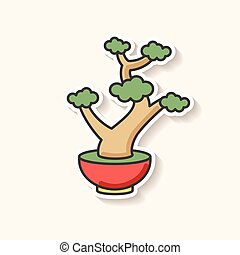 Bonsai patch. Tiny cultivated potted tree. Decorative ...