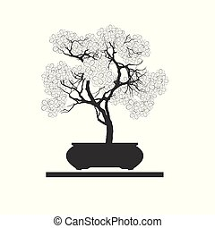 Bonsai silhouette. - Black silhouette of bonsai. Vector ...