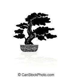 Bonsai silhouette over a white background. Vector ...