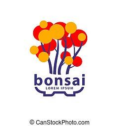 Bonsai tree and bonsai pot logo concept. Abstract autumn ...