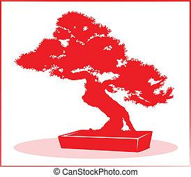 Bonsai tree in red silhouette.