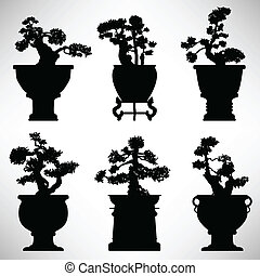 Bonsai Tree Plant Flower Pot - A set of bonsai tree in...